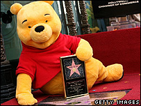Photo of Pooh getting his Hollywood Walk of Fame star