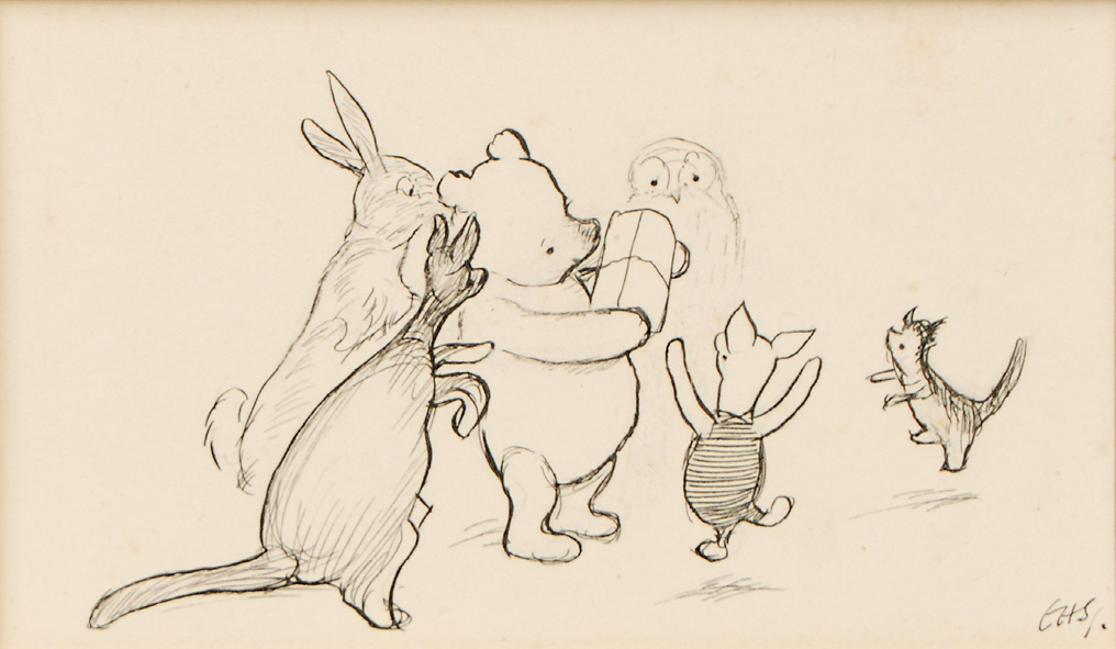 Sketch of Pooh and friends