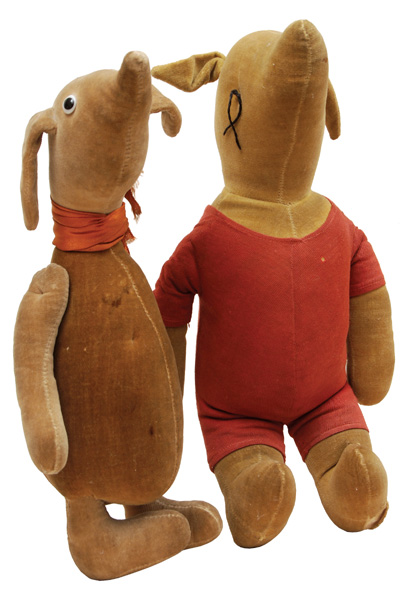 Stuffed Pooh and Rabbit toys